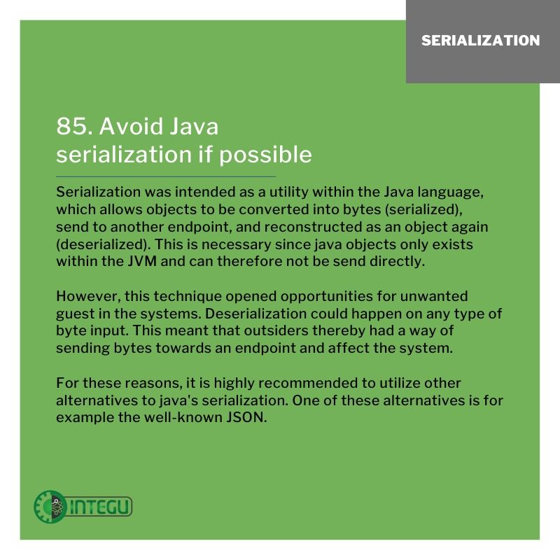 INTEGU-java-best-practices-85-Avoid-serialization